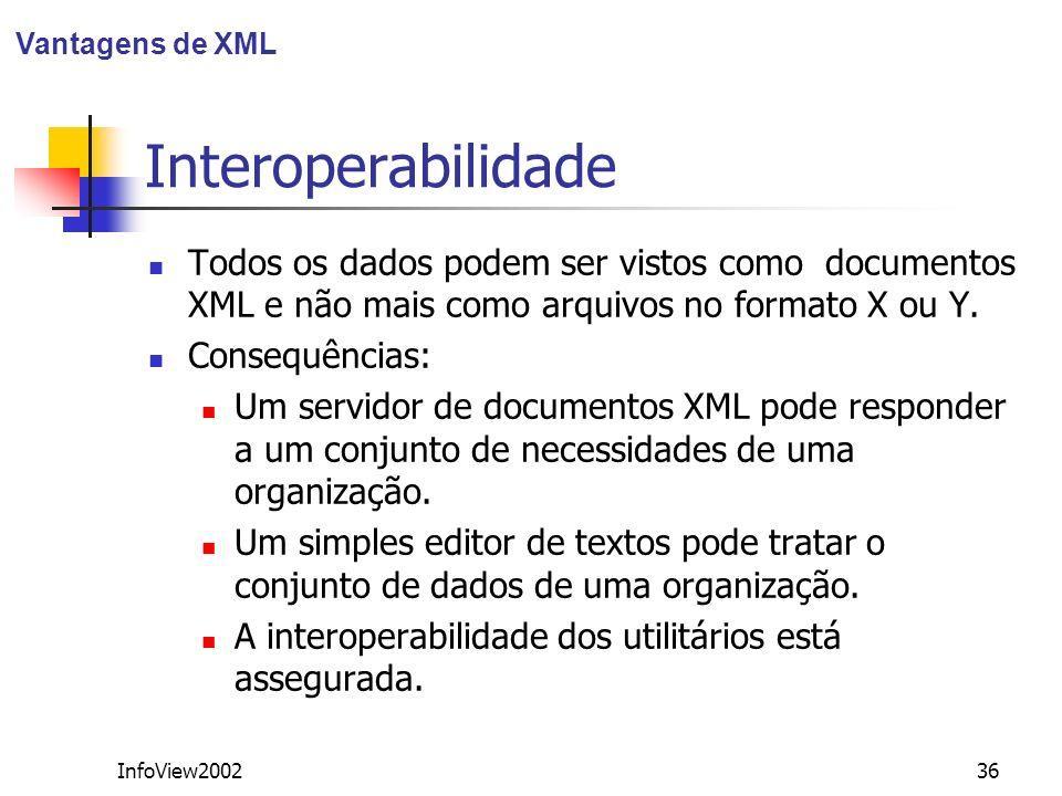 InfoView200236 Interoperabilidade Todos os dados podem ser vistos como documentos XML e não mais como arquivos no formato X ou Y. Consequências: Um se