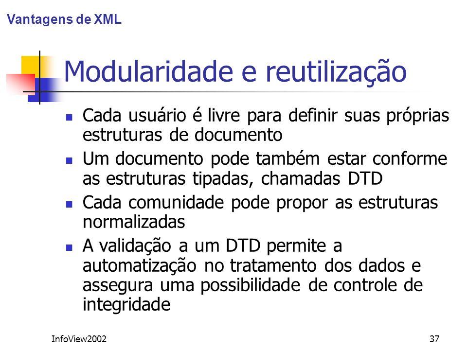 InfoView200237 Modularidade e reutilização Cada usuário é livre para definir suas próprias estruturas de documento Um documento pode também estar conf