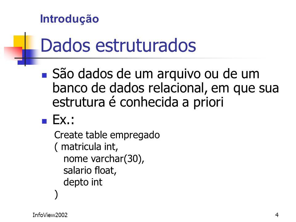 InfoView200275 Exemplo <!DOCTYPE db [ ]> Pedro Maia 33 maia@yahoo.com Ana Maria 24 ana.maria@uol.com.br...