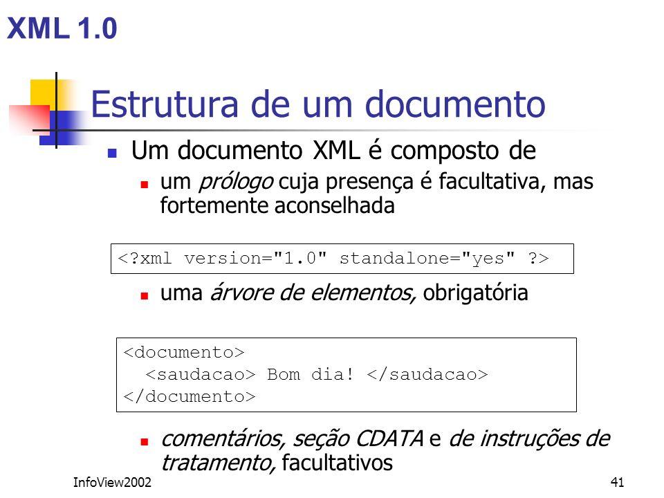InfoView200241 Estrutura de um documento Um documento XML é composto de um prólogo cuja presença é facultativa, mas fortemente aconselhada uma árvore