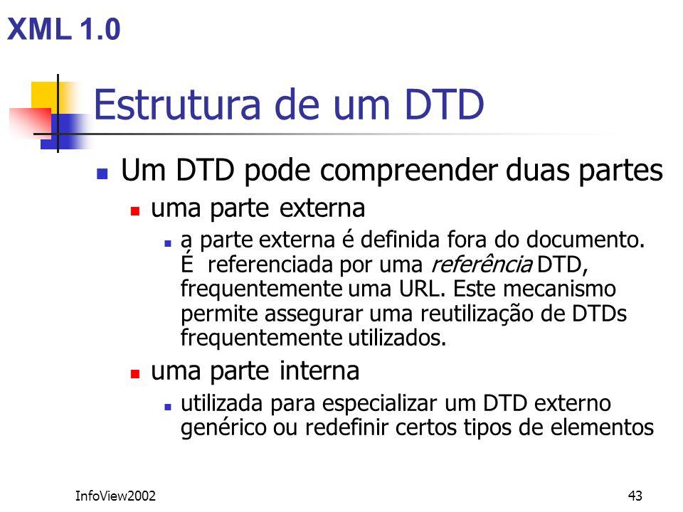InfoView200243 Estrutura de um DTD Um DTD pode compreender duas partes uma parte externa a parte externa é definida fora do documento. É referenciada