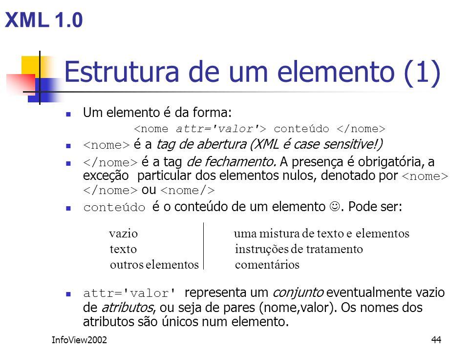 InfoView200244 Estrutura de um elemento (1) Um elemento é da forma: conteúdo é a tag de abertura (XML é case sensitive!) é a tag de fechamento. A pres