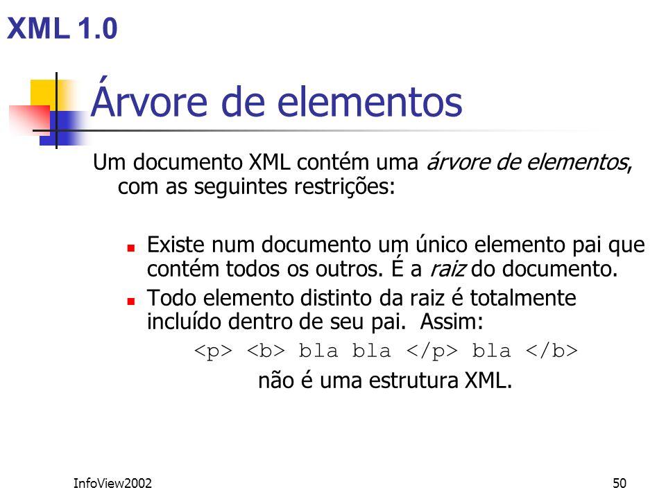 InfoView200250 Árvore de elementos Um documento XML contém uma árvore de elementos, com as seguintes restrições: Existe num documento um único element