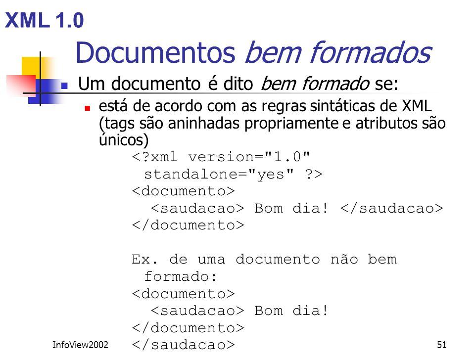 InfoView200251 Documentos bem formados Um documento é dito bem formado se: está de acordo com as regras sintáticas de XML (tags são aninhadas propriam