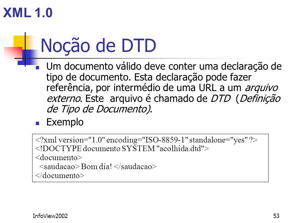 InfoView200253 Noção de DTD Um documento válido deve conter uma declaração de tipo de documento. Esta declaração pode fazer referência, por intermédio