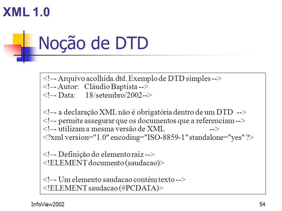 InfoView200254 Noção de DTD XML 1.0