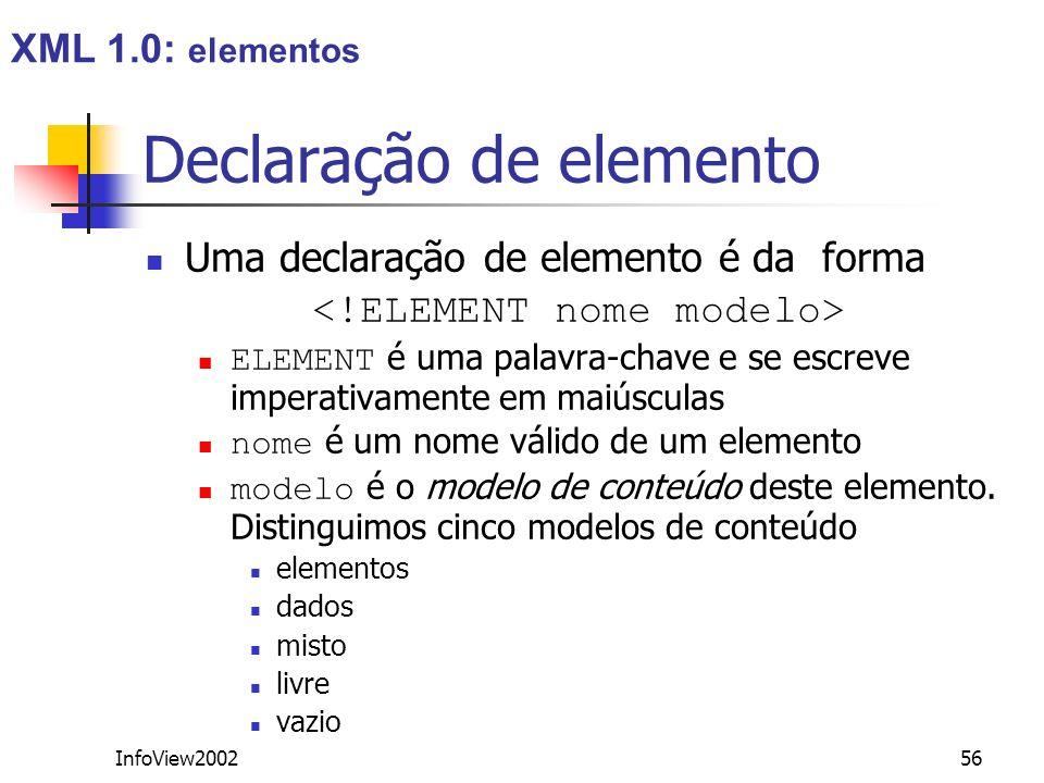 InfoView200256 Declaração de elemento Uma declaração de elemento é da forma ELEMENT é uma palavra-chave e se escreve imperativamente em maiúsculas nom