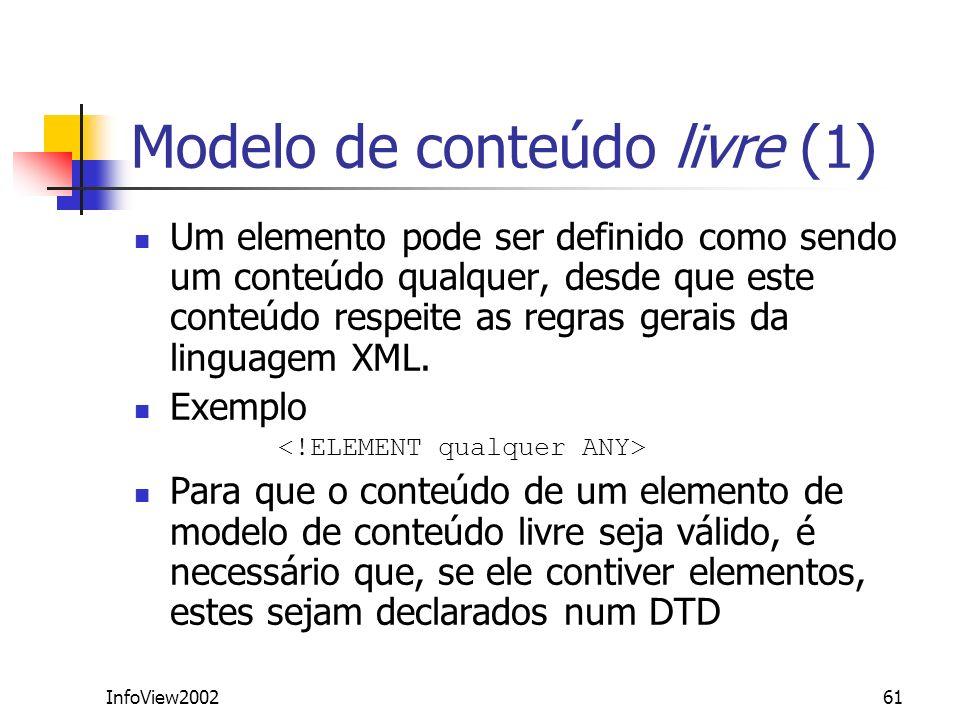 InfoView200261 Modelo de conteúdo livre (1) Um elemento pode ser definido como sendo um conteúdo qualquer, desde que este conteúdo respeite as regras