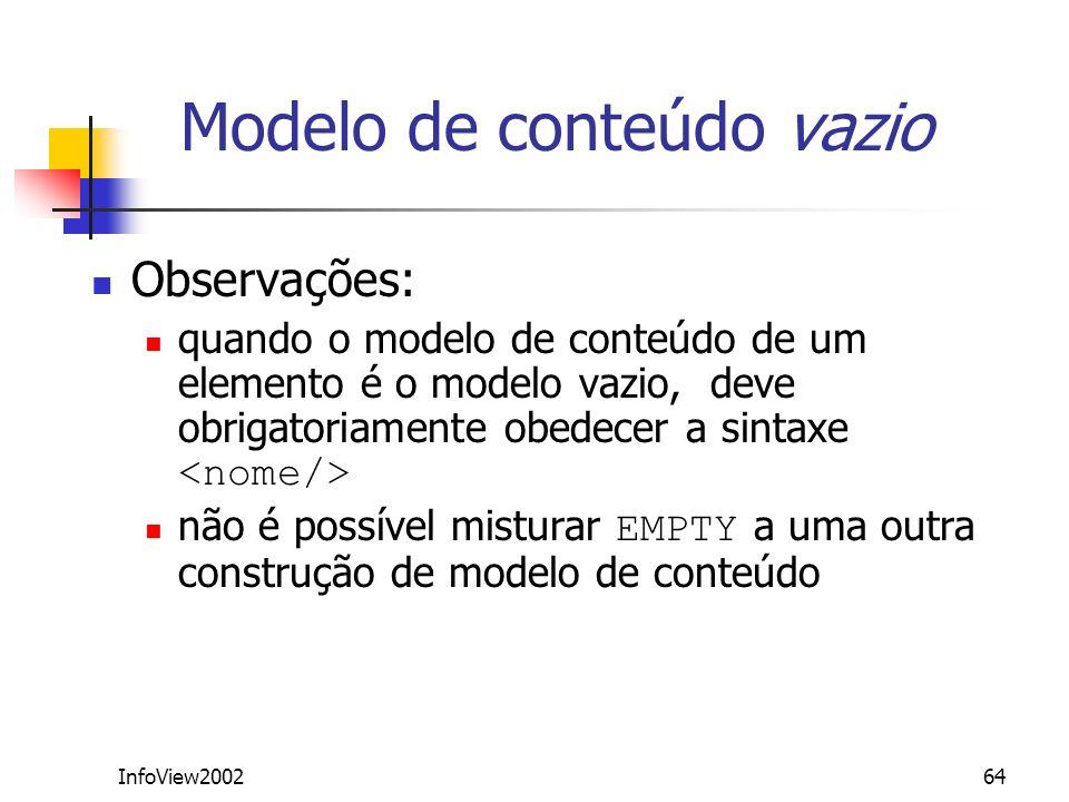 InfoView200264 Modelo de conteúdo vazio Observações: quando o modelo de conteúdo de um elemento é o modelo vazio, deve obrigatoriamente obedecer a sin