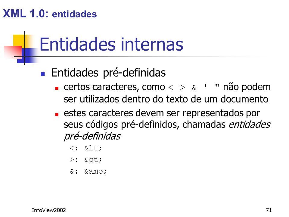InfoView200271 Entidades internas Entidades pré-definidas certos caracteres, como & '