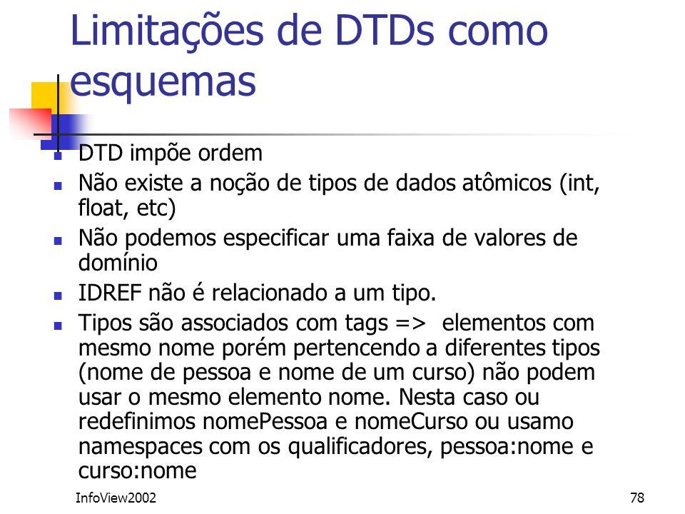InfoView200278 Limitações de DTDs como esquemas DTD impõe ordem Não existe a noção de tipos de dados atômicos (int, float, etc) Não podemos especifica