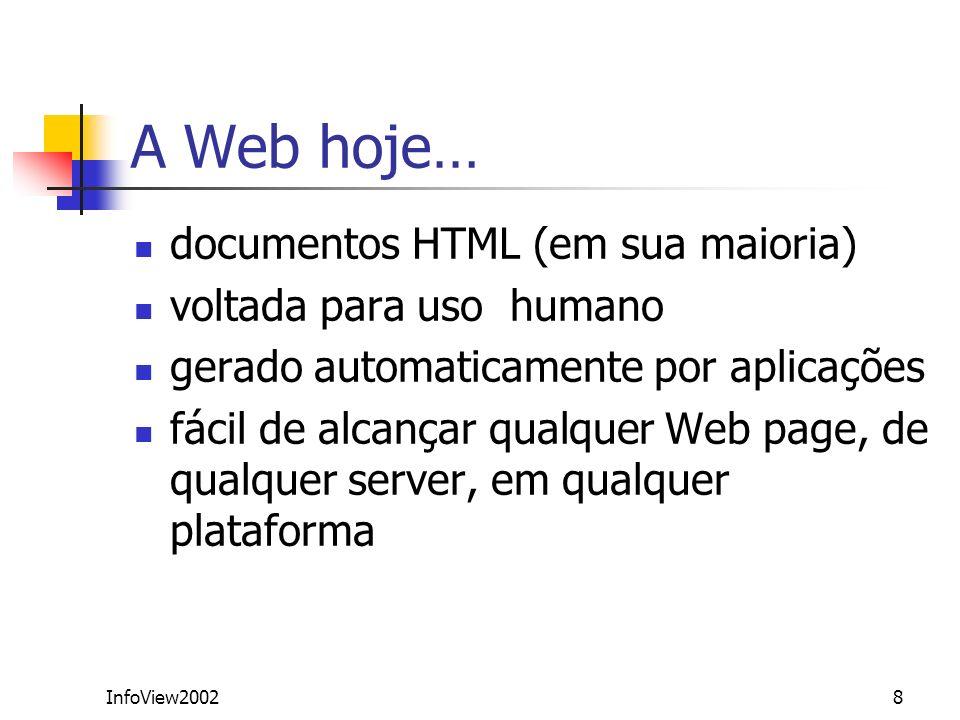 InfoView20028 A Web hoje… documentos HTML (em sua maioria) voltada para uso humano gerado automaticamente por aplicações fácil de alcançar qualquer We