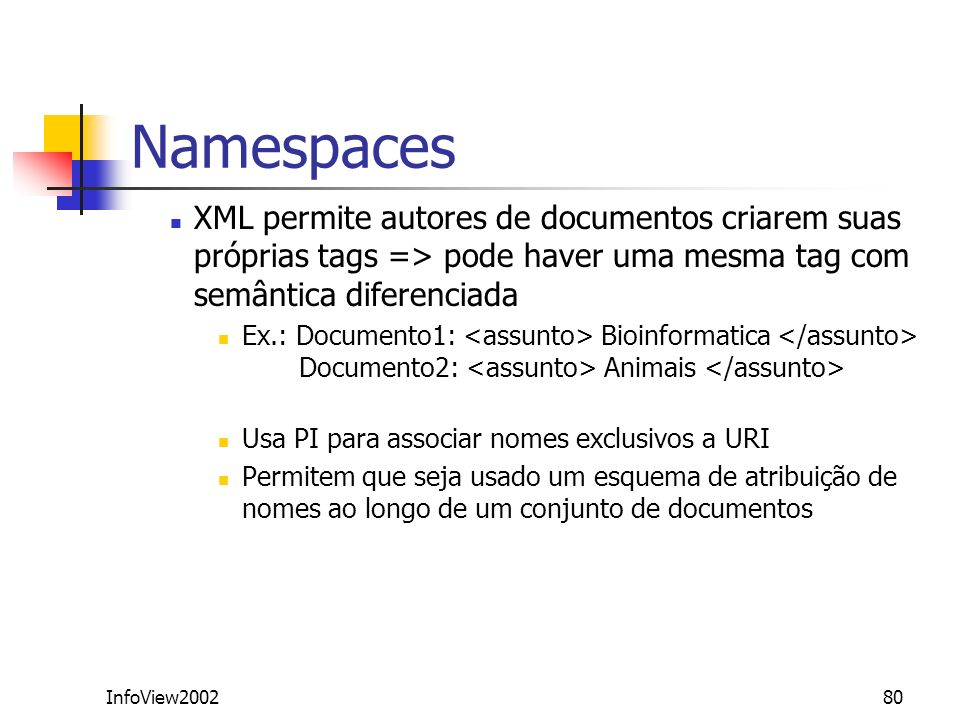 InfoView200280 Namespaces XML permite autores de documentos criarem suas próprias tags => pode haver uma mesma tag com semântica diferenciada Ex.: Doc
