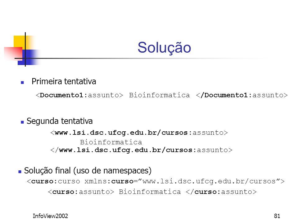 InfoView200281 Solução Primeira tentativa Bioinformatica Segunda tentativa Bioinformatica Solução final (uso de namespaces) Bioinformatica