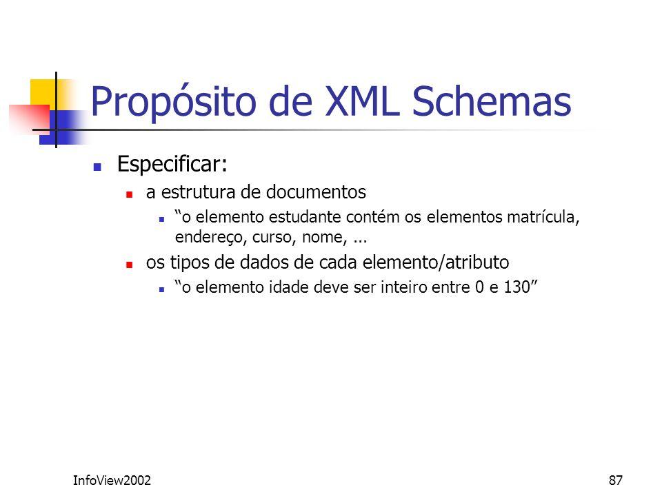 InfoView200287 Propósito de XML Schemas Especificar: a estrutura de documentos o elemento estudante contém os elementos matrícula, endereço, curso, no