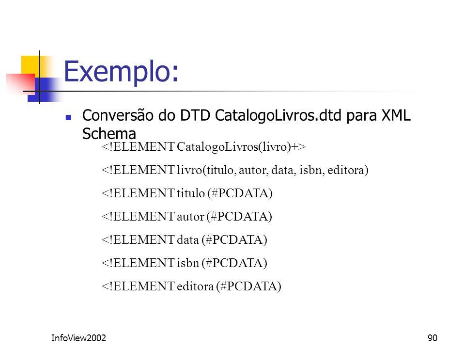 InfoView200290 Exemplo: Conversão do DTD CatalogoLivros.dtd para XML Schema <!ELEMENT livro(titulo, autor, data, isbn, editora) <!ELEMENT titulo (#PCD