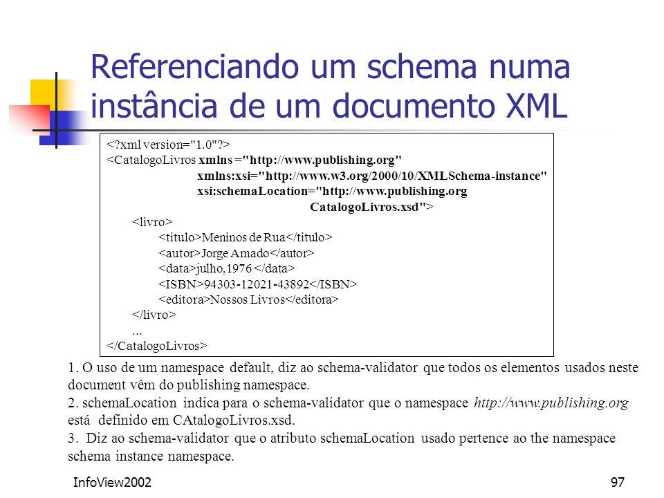 InfoView200297 Referenciando um schema numa instância de um documento XML <CatalogoLivros xmlns =