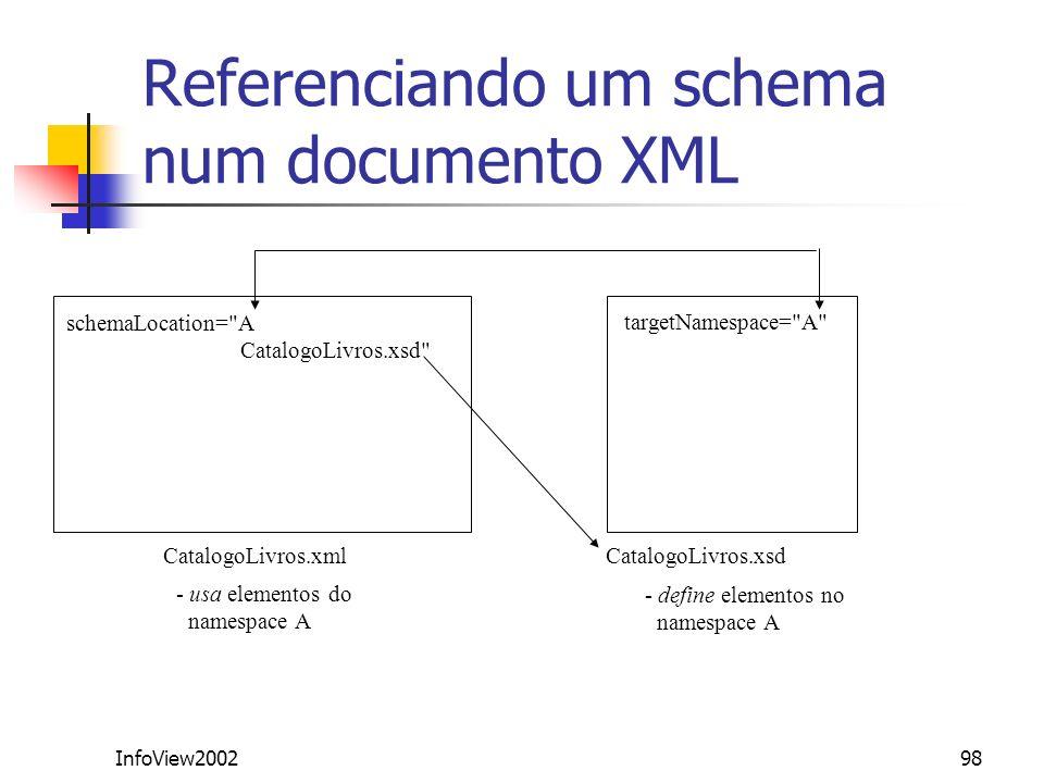 InfoView200298 Referenciando um schema num documento XML CatalogoLivros.xml CatalogoLivros.xsd targetNamespace=