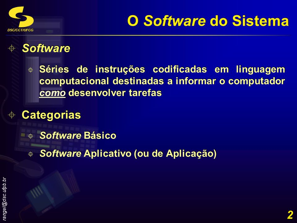 DSC/CCT/UFCG rangel@dsc.ufpb.br 3 O Software do Sistema Software do Sistema Programas que controlam as operações do computador e seus dispositivos Interface entre o usuário, o software aplicativo e o hardware Tipos Sistemas Operacionais Programas Utilitários Software do Sistema Programas que controlam as operações do computador e seus dispositivos Interface entre o usuário, o software aplicativo e o hardware Tipos Sistemas Operacionais Programas Utilitários SOFTWARE DO SISTEMA SOFTWARE APLICATIVO