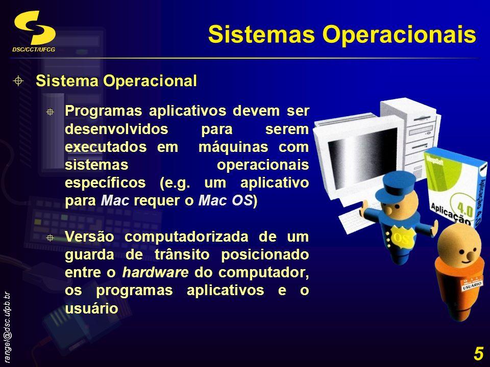 DSC/CCT/UFCG rangel@dsc.ufpb.br 6 Funções dos Sistemas Operacionais Inicialização do Computador Inicialização do Computador Gestão de Programas Gestão de Programas Gestão da Memória Gestão da Memória Programação de Tarefas Programação de Tarefas Configuração de Dispositivos Configuração de Dispositivos Controle da Rede Monitoração do Desempenho Monitoração do Desempenho Interfaceamento com o Usuário