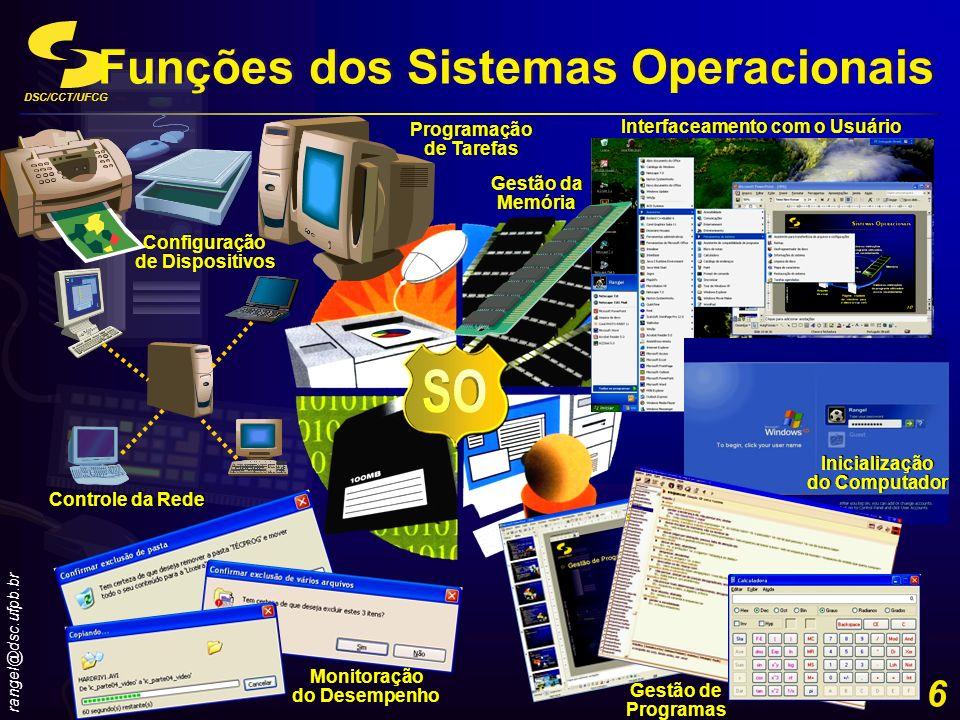DSC/CCT/UFCG rangel@dsc.ufpb.br 17 Inicialização de um sistema computacional Step 7 Funções dos Sistemas Operacionais Passo 7 O SO carrega informações de configuração, exibe a área de trabalho (desktop) na tela e executa programas na pasta Iniciar (StartUp) Passo 7 O SO carrega informações de configuração, exibe a área de trabalho (desktop) na tela e executa programas na pasta Iniciar (StartUp) Pasta Iniciar (StartUp) Contêiner de uma lista de programas que são automaticamente iniciados quando o computador é inicializado Pasta Iniciar (StartUp) Contêiner de uma lista de programas que são automaticamente iniciados quando o computador é inicializado