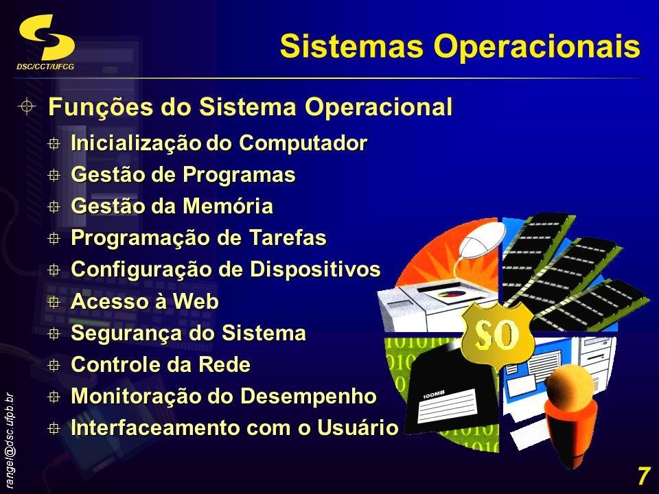 DSC/CCT/UFCG rangel@dsc.ufpb.br 8 Sistemas Operacionais Localização Residente no disco rígido do computador (maioria dos casos) Possibilidade de armazenamento em um chip ROM (handhelds) Computadores de diferentes portes possuem tipicamente diferentes sistemas operacionais Tipos similares de computadores podem possuir sistemas operacionais diferentes Diversos sistemas operacionais não são compatíveis entre si Residente no disco rígido do computador (maioria dos casos) Possibilidade de armazenamento em um chip ROM (handhelds) Computadores de diferentes portes possuem tipicamente diferentes sistemas operacionais Tipos similares de computadores podem possuir sistemas operacionais diferentes Diversos sistemas operacionais não são compatíveis entre si