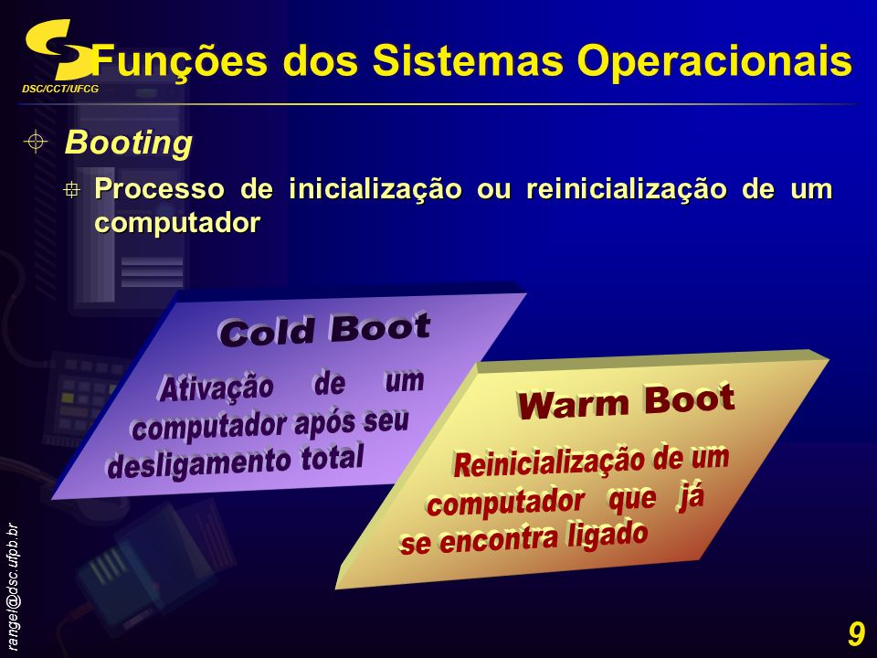 DSC/CCT/UFCG rangel@dsc.ufpb.br 20 Multi-usuário SO permite a execução simultânea de programas por dois ou mais usuáriosMulti-usuário Multi-processamento SO pode suportar a execução simultânea de programas por dois ou mais processadoresMulti-processamento Computador Tolerante a Falhas Continua a operar mesmo se um ou ou mais de seus componentes falhar (duplicação de componentes, tais como processadores, memórias e drives de disco) Computador Tolerante a Falhas Continua a operar mesmo se um ou ou mais de seus componentes falhar (duplicação de componentes, tais como processadores, memórias e drives de disco) Funções dos Sistemas Operacionais Outras características de gestão de programas