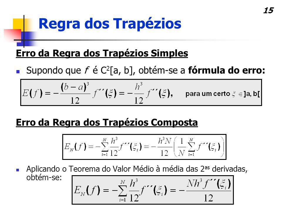 15 Erro da Regra dos Trapézios Simples Supondo que f é C 2 [a, b], obtém-se a fórmula do erro: Erro da Regra dos Trapézios Composta Aplicando o Teorema do Valor Médio à média das 2 as derivadas, obtém-se: Regra dos Trapézios