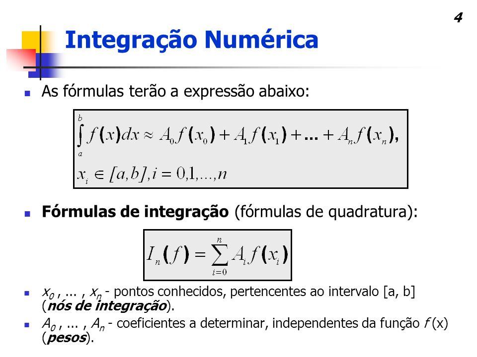 4 As fórmulas terão a expressão abaixo: Fórmulas de integração (fórmulas de quadratura): x 0,..., x n - pontos conhecidos, pertencentes ao intervalo [a, b] (nós de integração).