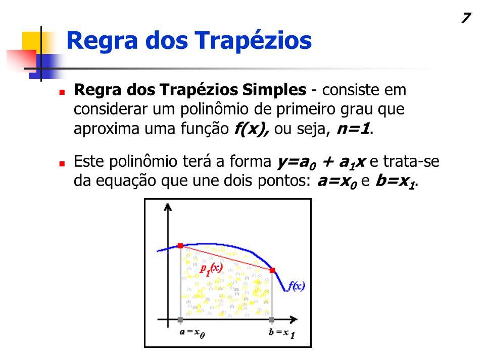 7 Regra dos Trapézios Simples - consiste em considerar um polinômio de primeiro grau que aproxima uma função f(x), ou seja, n=1.