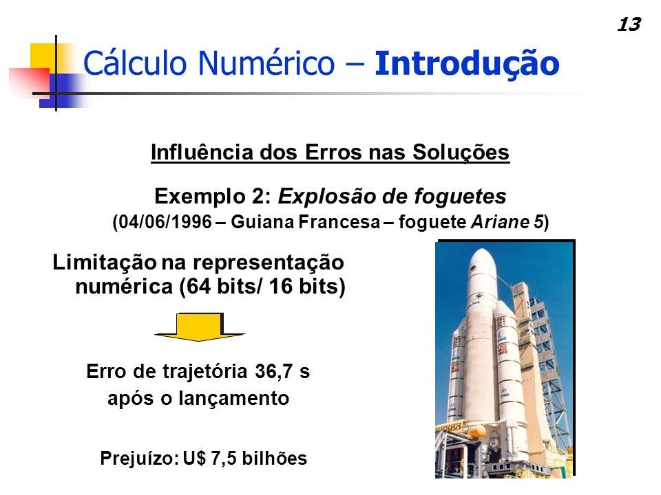 13 Influência dos Erros nas Soluções Exemplo 2: Explosão de foguetes (04/06/1996 – Guiana Francesa – foguete Ariane 5) Erro de trajetória 36,7 s após