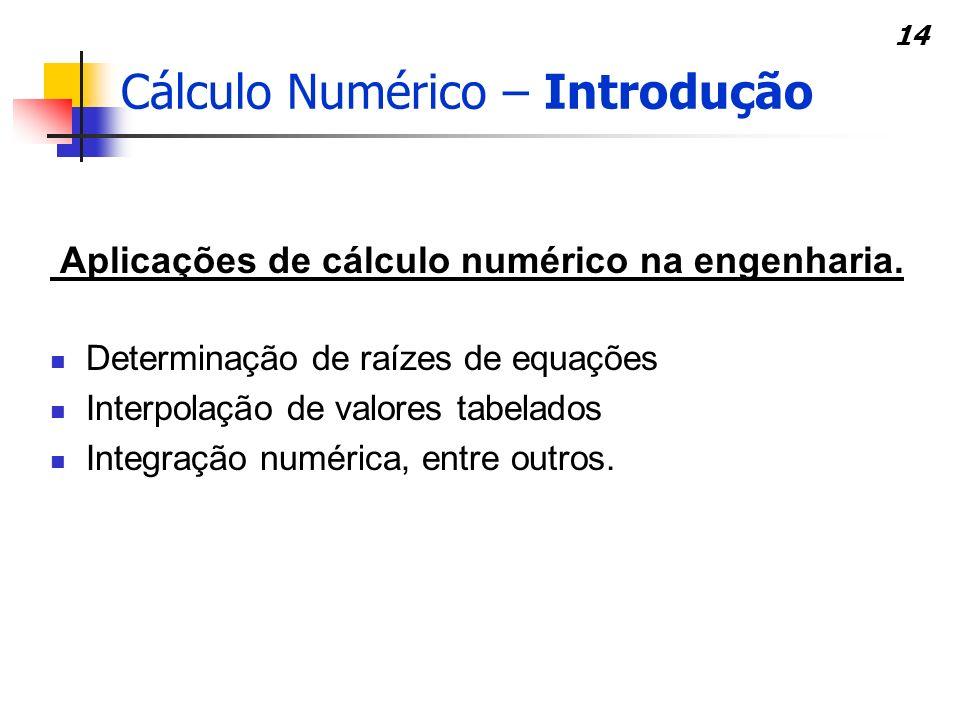 14 Aplicações de cálculo numérico na engenharia. Determinação de raízes de equações Interpolação de valores tabelados Integração numérica, entre outro