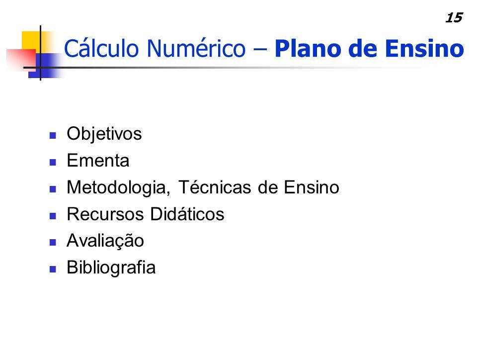 15 Cálculo Numérico – Plano de Ensino Objetivos Ementa Metodologia, Técnicas de Ensino Recursos Didáticos Avaliação Bibliografia