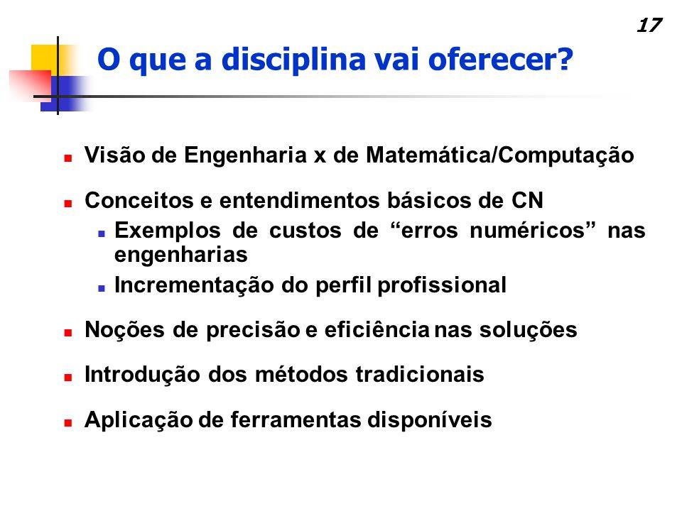 17 Visão de Engenharia x de Matemática/Computação Conceitos e entendimentos básicos de CN Exemplos de custos de erros numéricos nas engenharias Increm