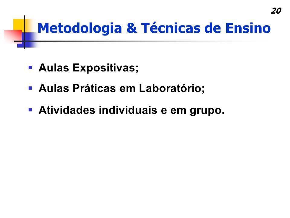 20 Metodologia & Técnicas de Ensino Aulas Expositivas; Aulas Práticas em Laboratório; Atividades individuais e em grupo.