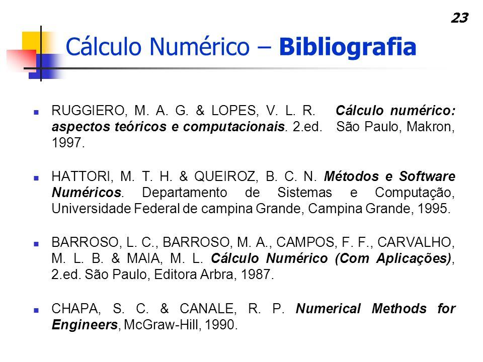 23 Cálculo Numérico – Bibliografia RUGGIERO, M. A. G. & LOPES, V. L. R. Cálculo numérico: aspectos teóricos e computacionais. 2.ed. São Paulo, Makron,