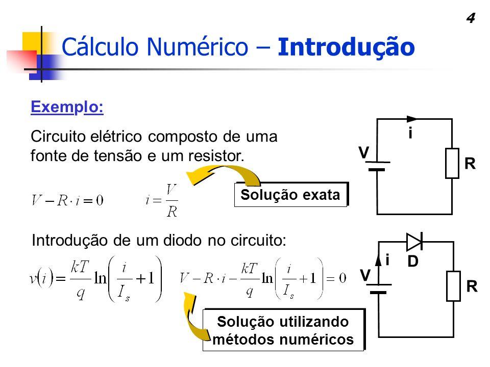 4 Exemplo: Circuito elétrico composto de uma fonte de tensão e um resistor. Solução exata Introdução de um diodo no circuito: Solução utilizando métod