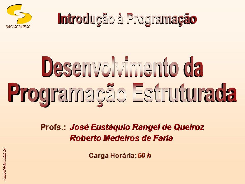 rangel@dsc.ufpb.br DSC/CCT/UFCG Profs.: José Eustáquio Rangel de Queiroz Roberto Medeiros de Faria José Eustáquio Rangel de Queiroz Roberto Medeiros d
