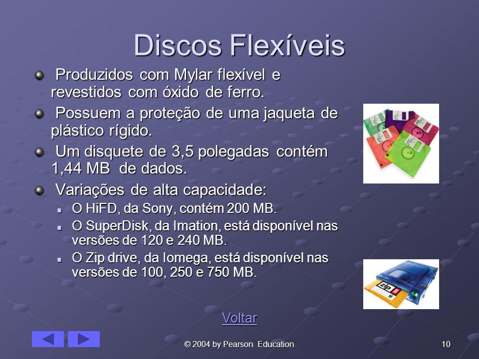 10© 2004 by Pearson Education Discos Flexíveis Produzidos com Mylar flexível e revestidos com óxido de ferro. Produzidos com Mylar flexível e revestid