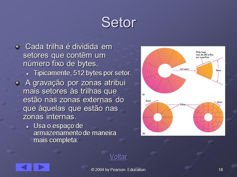 18© 2004 by Pearson Education Setor Cada trilha é dividida em setores que contêm um número fixo de bytes. Cada trilha é dividida em setores que contêm