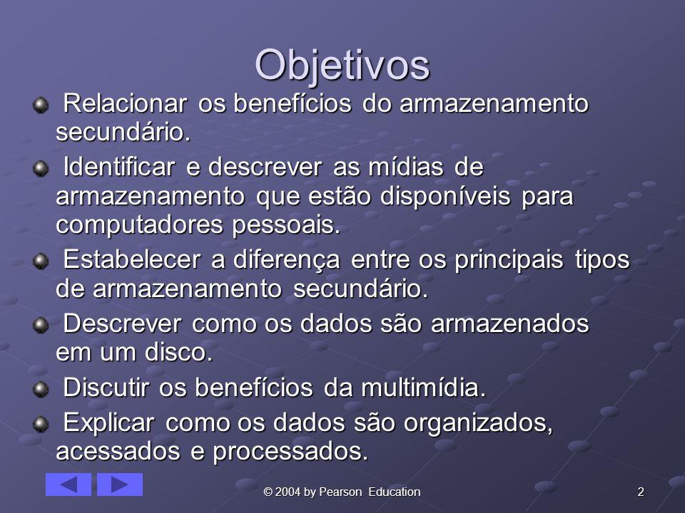 3© 2004 by Pearson Education Armazenamento Secundário Separado do próprio computador.