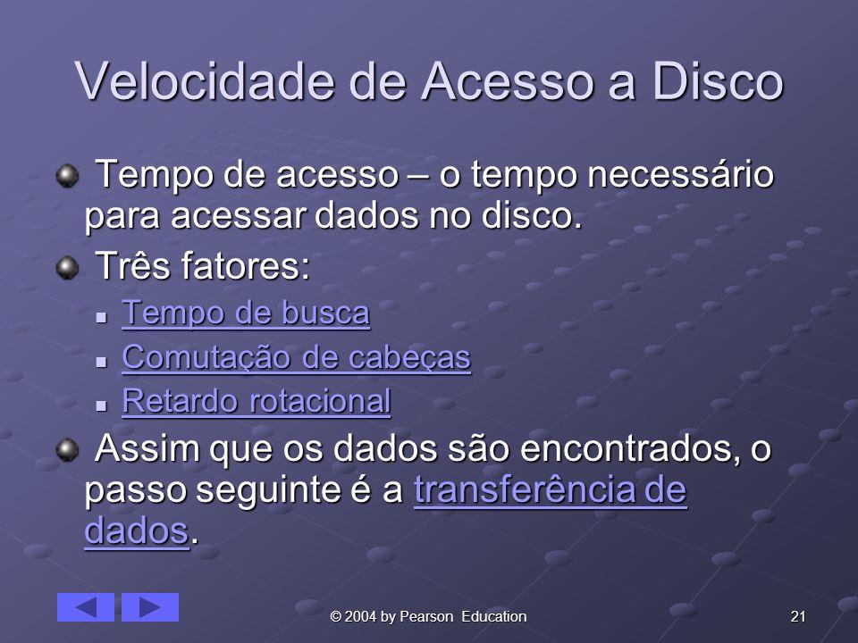 21© 2004 by Pearson Education Velocidade de Acesso a Disco Tempo de acesso – o tempo necessário para acessar dados no disco. Tempo de acesso – o tempo