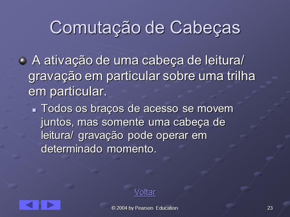 23© 2004 by Pearson Education Comutação de Cabeças A ativação de uma cabeça de leitura/ gravação em particular sobre uma trilha em particular. A ativa