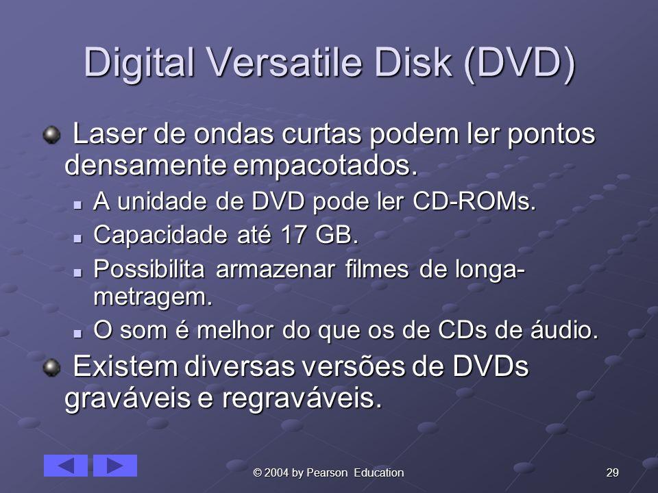 29© 2004 by Pearson Education Digital Versatile Disk (DVD) Laser de ondas curtas podem ler pontos densamente empacotados. Laser de ondas curtas podem
