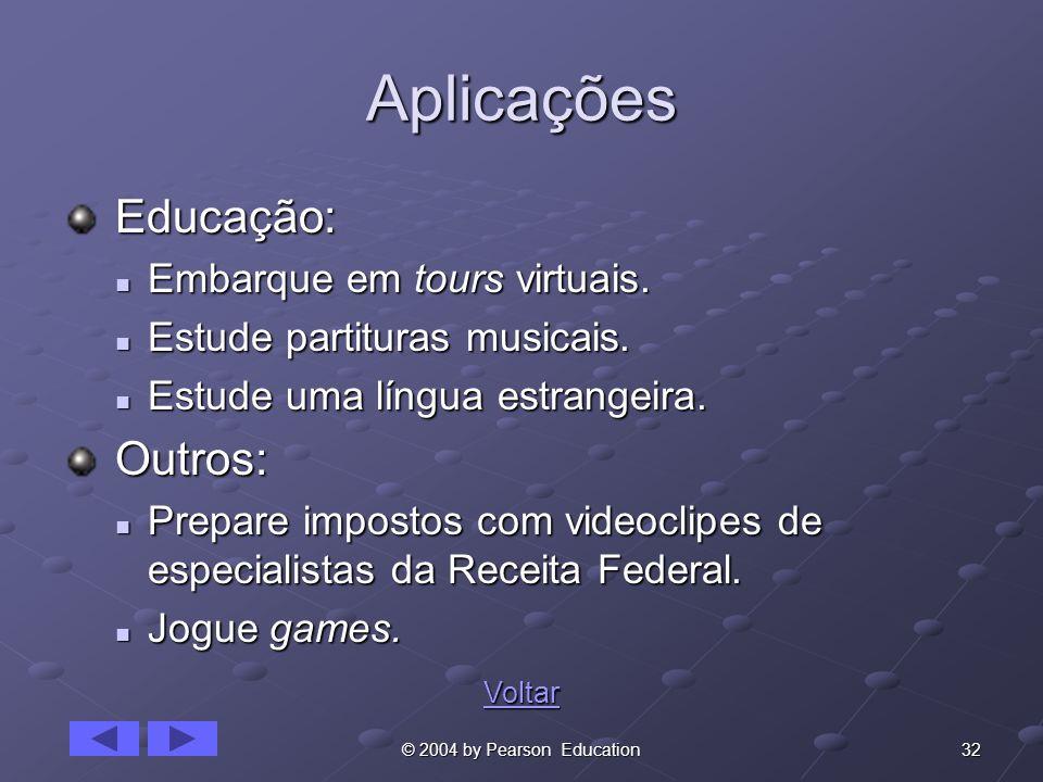 32© 2004 by Pearson Education Aplicações Educação: Educação: Embarque em tours virtuais. Embarque em tours virtuais. Estude partituras musicais. Estud