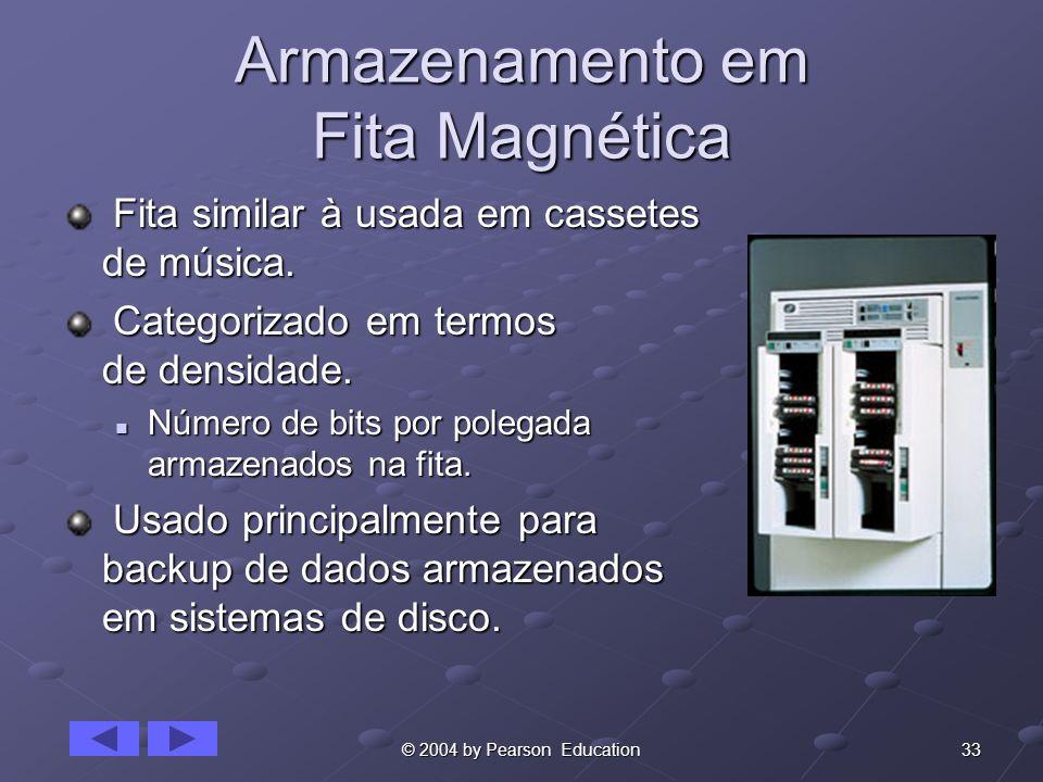 33© 2004 by Pearson Education Armazenamento em Fita Magnética Fita similar à usada em cassetes de música. Fita similar à usada em cassetes de música.