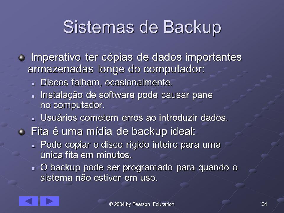 34© 2004 by Pearson Education Sistemas de Backup Imperativo ter cópias de dados importantes armazenadas longe do computador: Imperativo ter cópias de