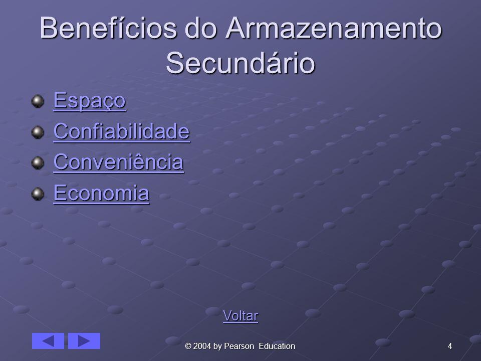 4© 2004 by Pearson Education Benefícios do Armazenamento Secundário Espaço EspaçoEspaço Confiabilidade ConfiabilidadeConfiabilidade Conveniência Conve