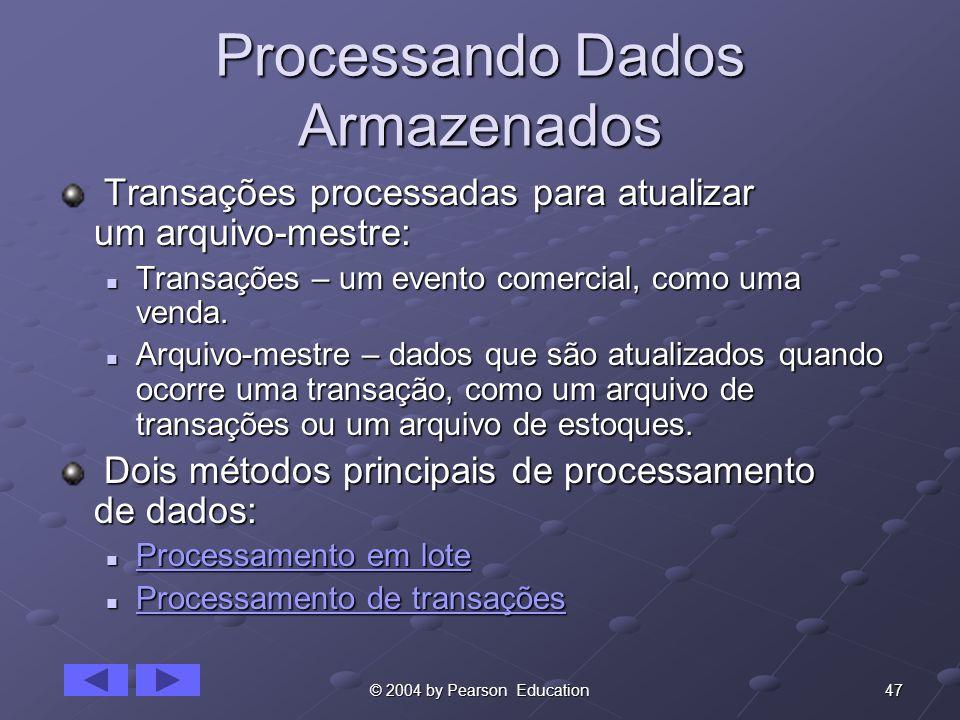 47© 2004 by Pearson Education Processando Dados Armazenados Transações processadas para atualizar um arquivo-mestre: Transações processadas para atual