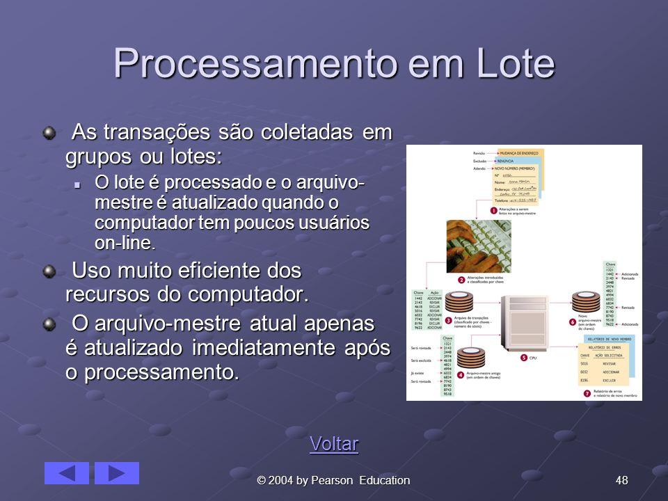 48© 2004 by Pearson Education Processamento em Lote As transações são coletadas em grupos ou lotes: As transações são coletadas em grupos ou lotes: O
